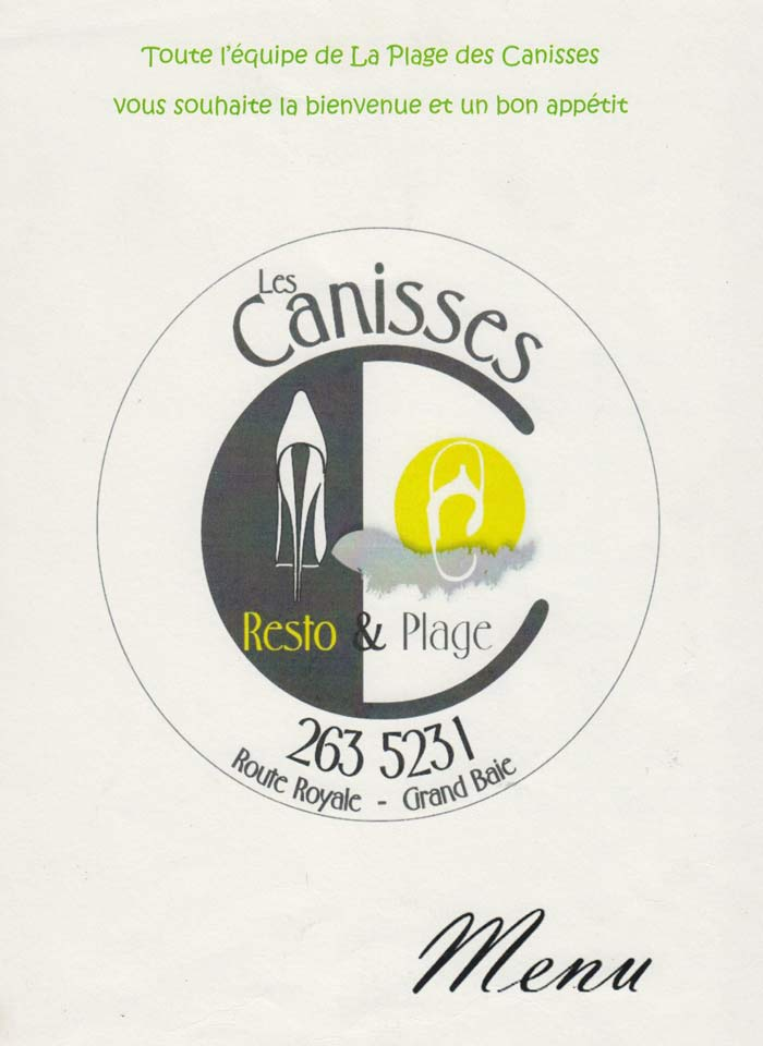 Canisses Resto and Plage - Menu