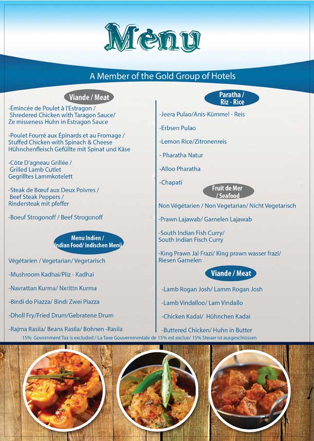 Gold Beach Restaurant Menu